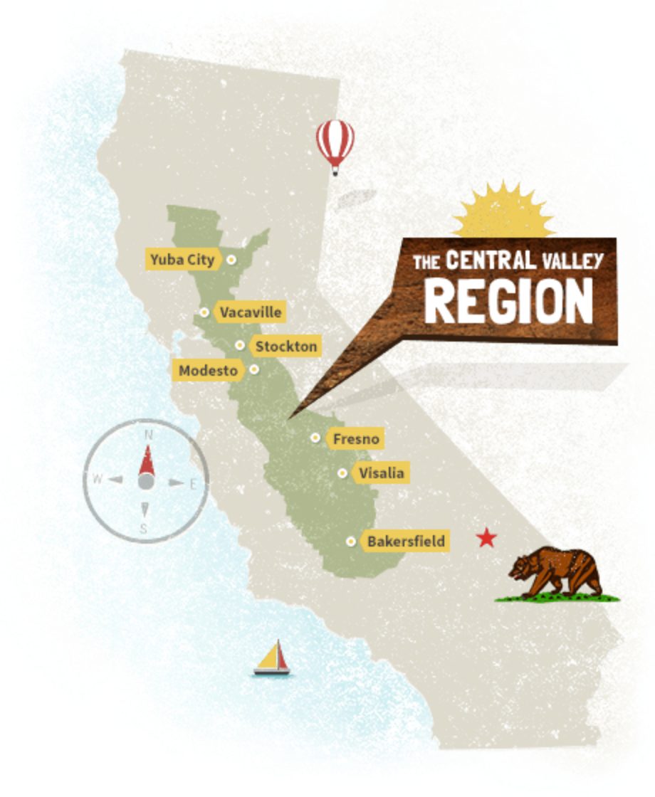 Visit California's Central Valley on salinas valley map, mojave desert map, death valley map, interior plains map, lower valley map, sierra nevada map, santa clara valley map, great basin map, appalachian mountains map, great plains map, san joaquin valley map, california map, mount whitney map, puget sound map, mt. mckinley map, united states map, ozark plateau map, colorado plateau map, san juan valley map, greater bay area map,